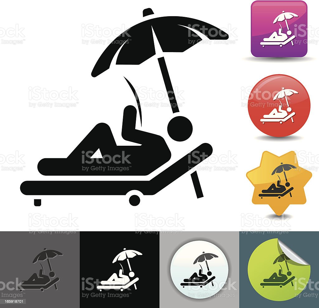 Relaxing in the lounge chair icon | solicosi series vector art illustration
