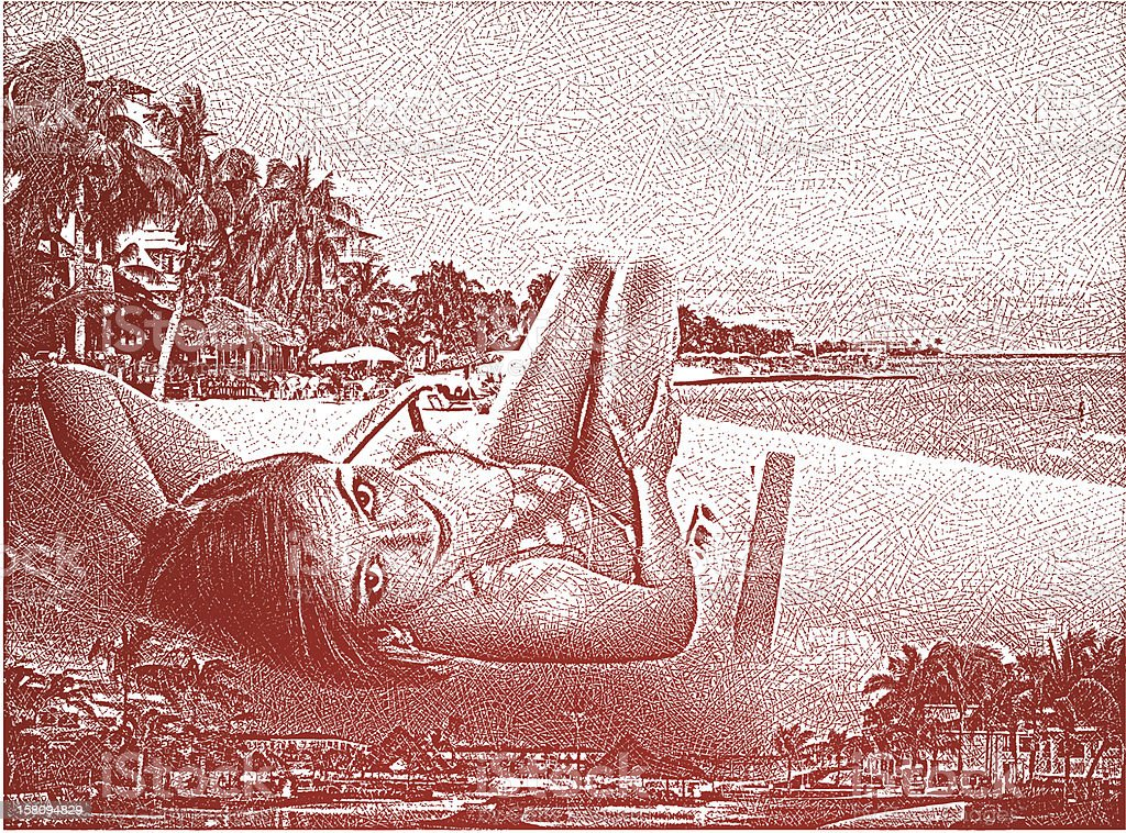 Relaxing on the Beach vector art illustration
