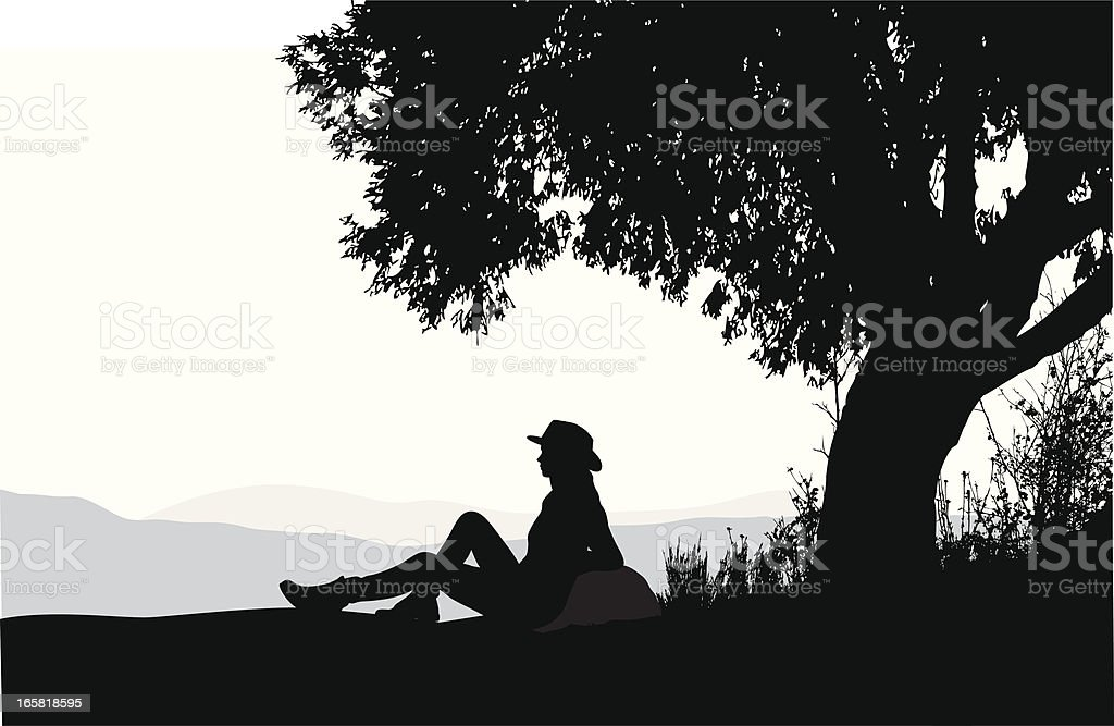 Relaxing Outdoors Vector Silhouette royalty-free stock vector art