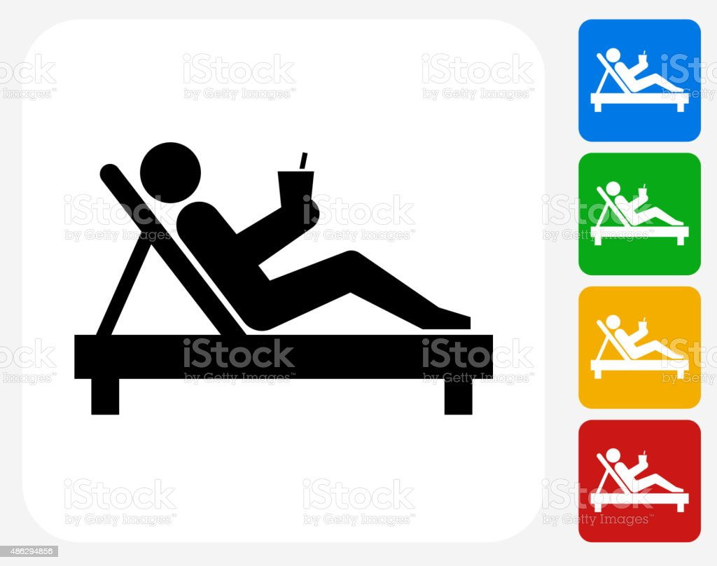 Relaxing Stick Figure Icon Flat Graphic Design vector art illustration