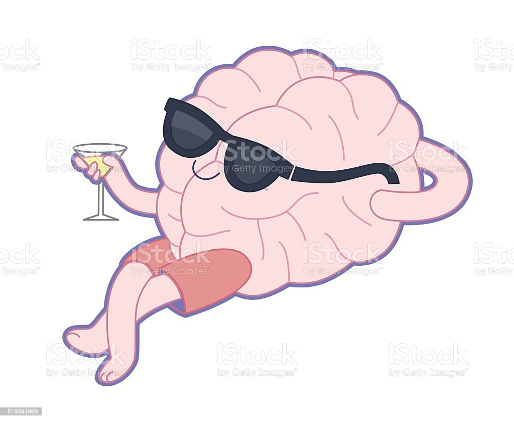 Relaxing with a glass of vermouth, Brain collection vector art illustration