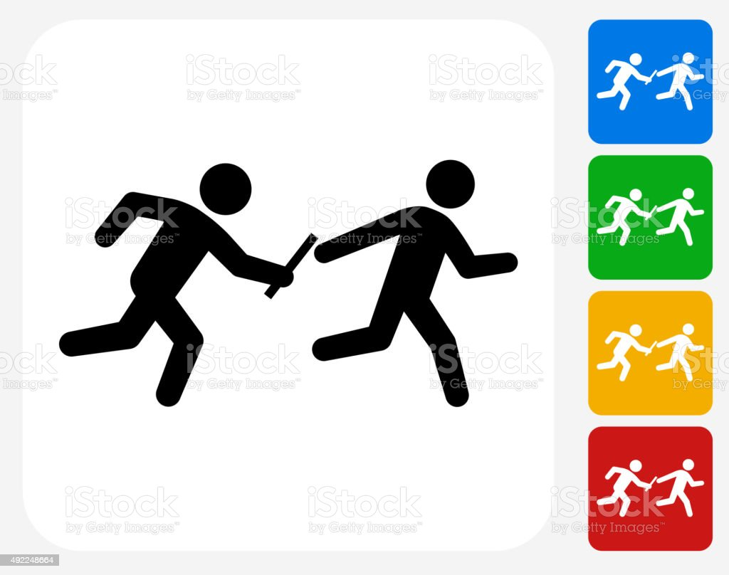 Relay Race Icon Flat Graphic Design vector art illustration