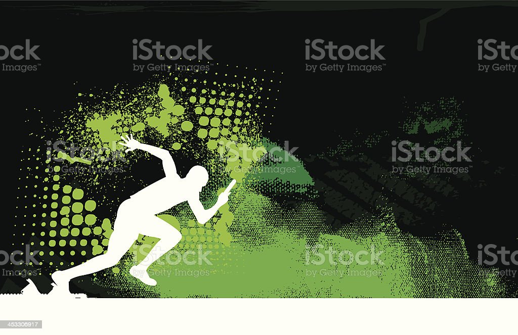 Relay Race - Sprinter Background, Track and Field vector art illustration