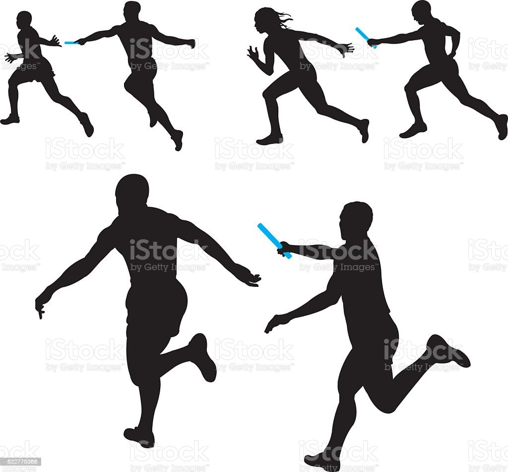 Relay Race, Track Meet, Competition, Teamwork vector art illustration