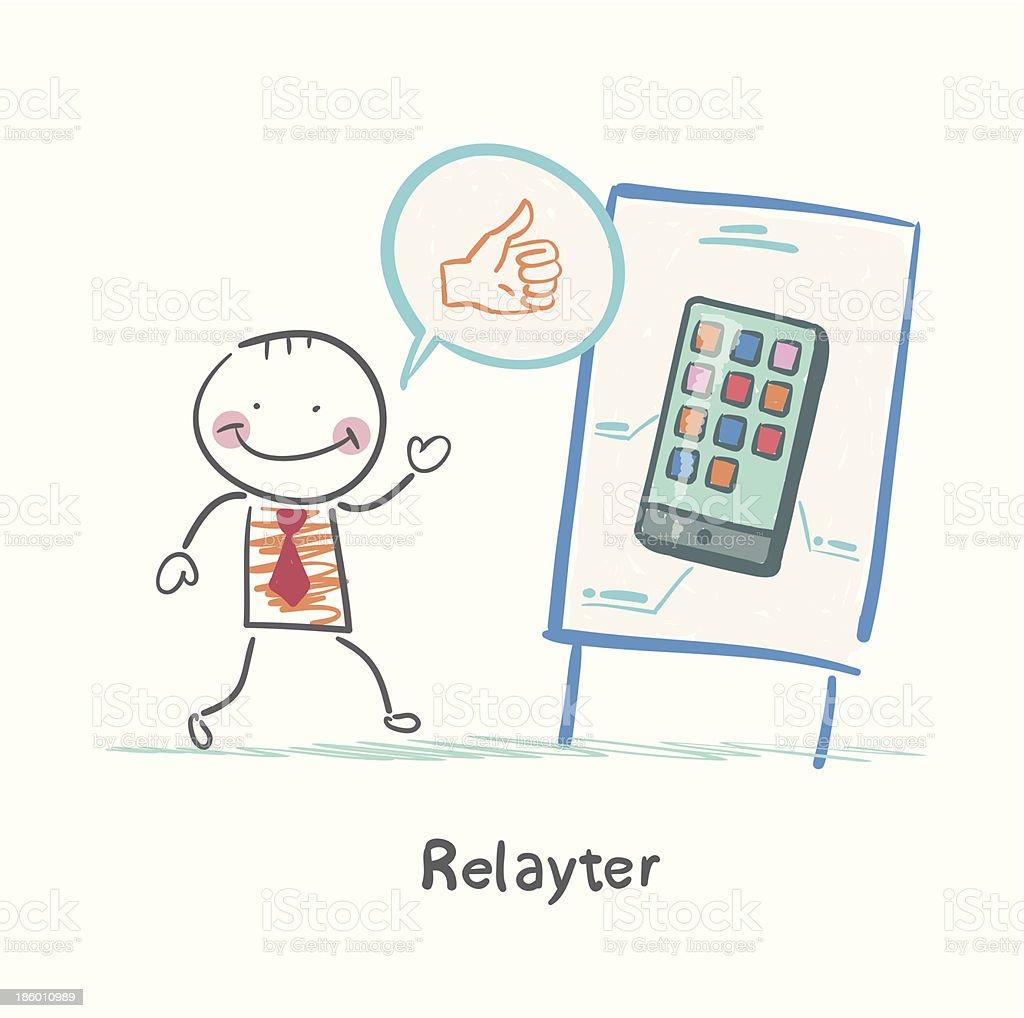 Relayter praises mobile phone royalty-free stock vector art