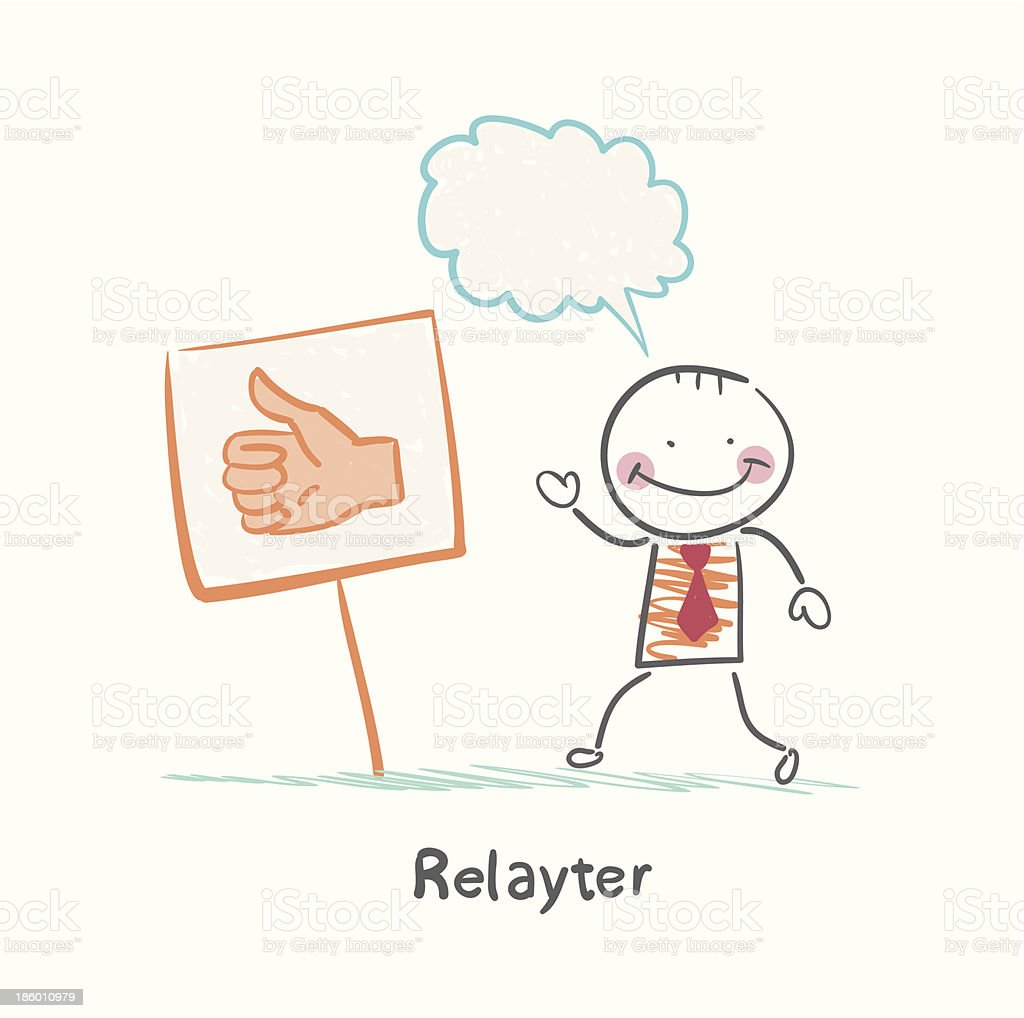 Relayter stands next to the sign - it's good royalty-free stock vector art