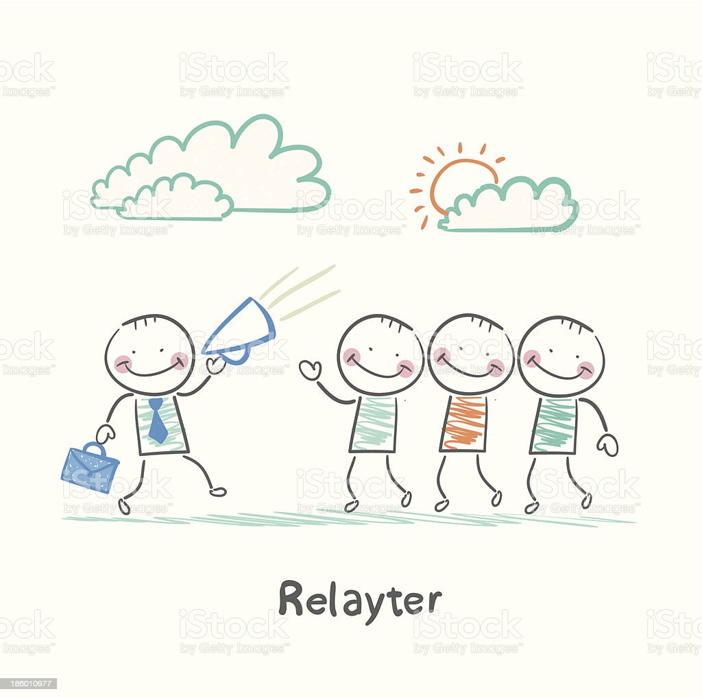 Relayter tells people about product royalty-free stock vector art