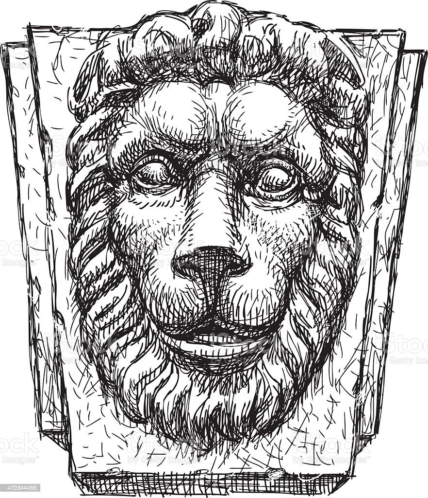 relief a head of  lion vector art illustration