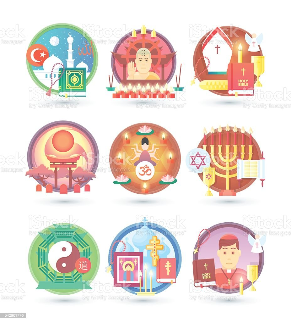 Religion and confession icons. Flat colorful concept vector illustration. vector art illustration