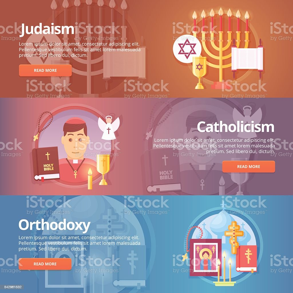 Religion and confessions banners set. Vector design concept. vector art illustration