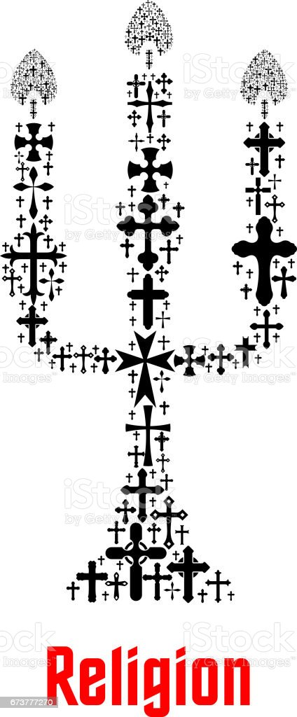 Religion candle symbol of Christianity crosses vector art illustration