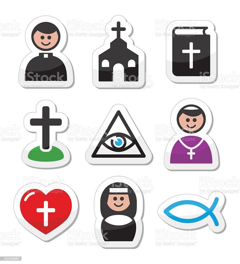 Religion, catholic church vector icons set vector art illustration