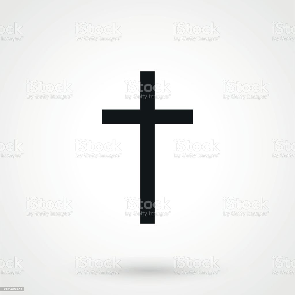 Religion Cross Icon in a simple style on a white background