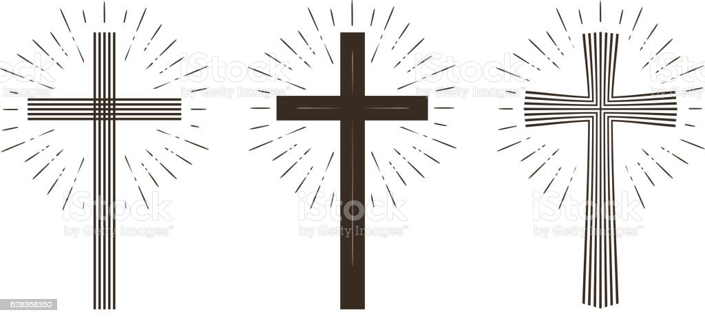 Religion cross icon or symbol. Vector illustration isolated on white...