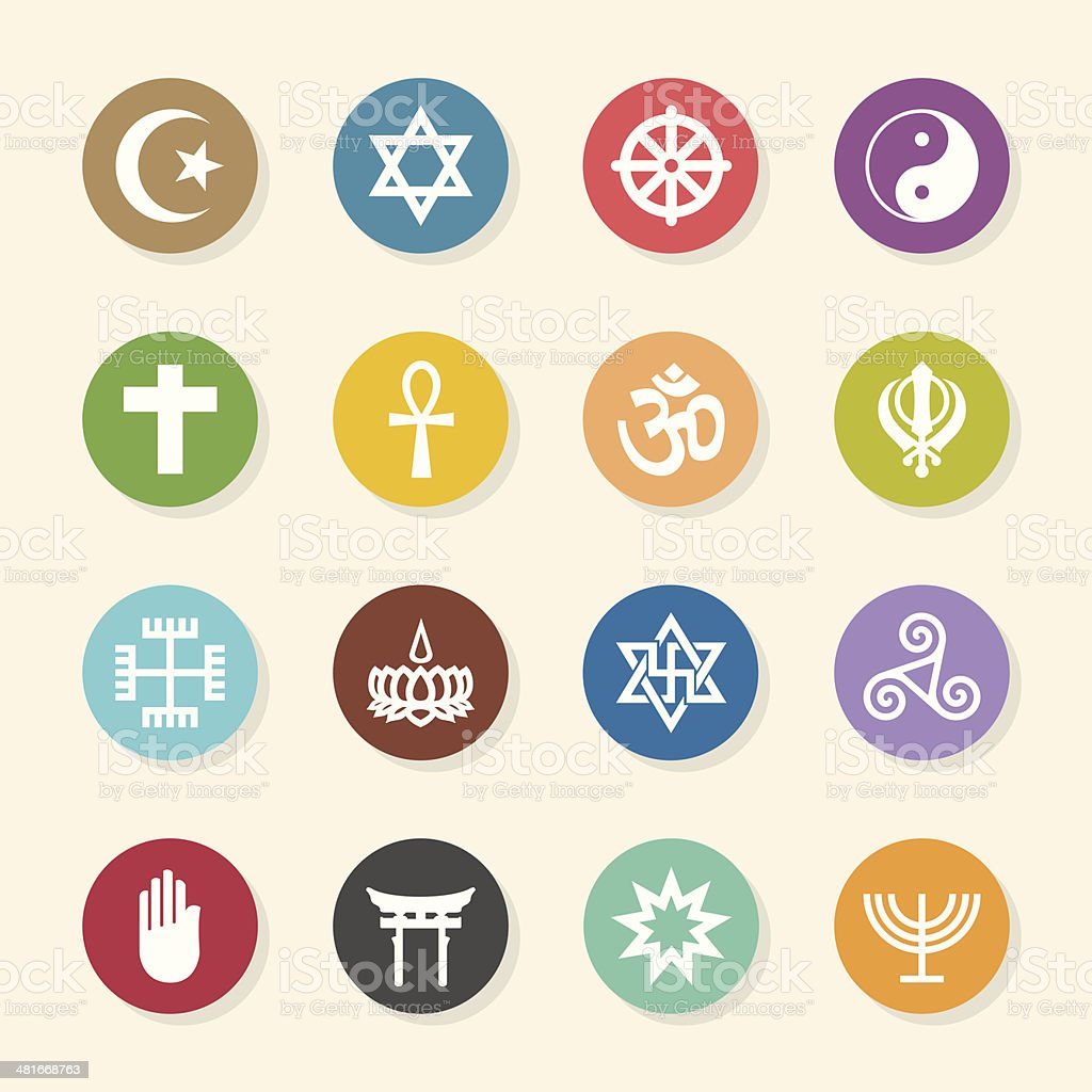 Religion Icons - Color Circle Series vector art illustration