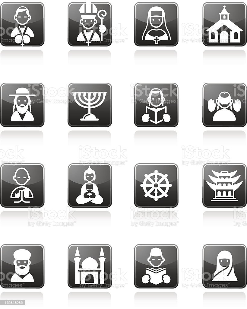 Religion icons vector art illustration