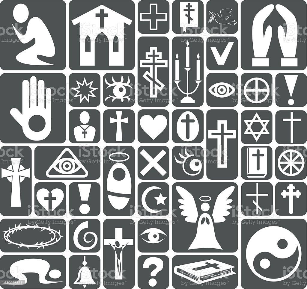 religion icons vector art illustration