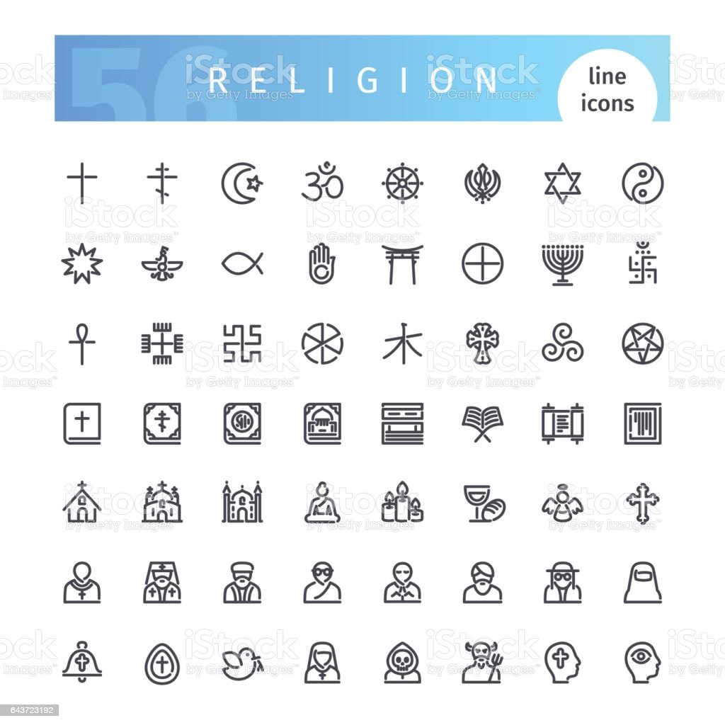Religion Line Icons Set vector art illustration