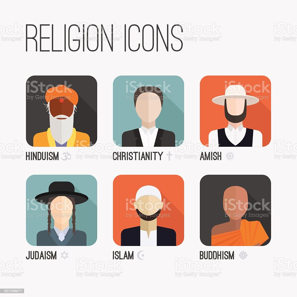 Religion People Icons vector art illustration