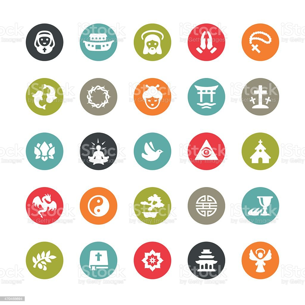 Religion related vector icons / Ringico series vector art illustration