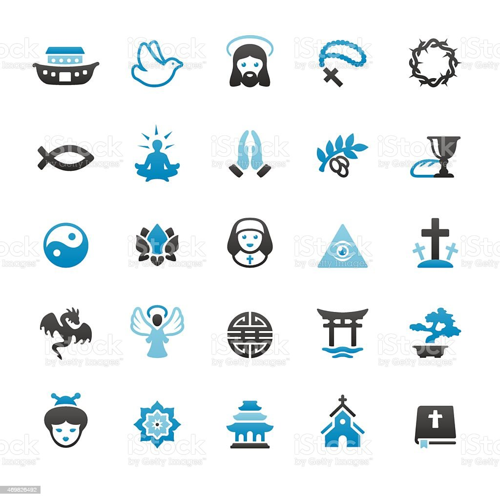 Religion related vector icons vector art illustration