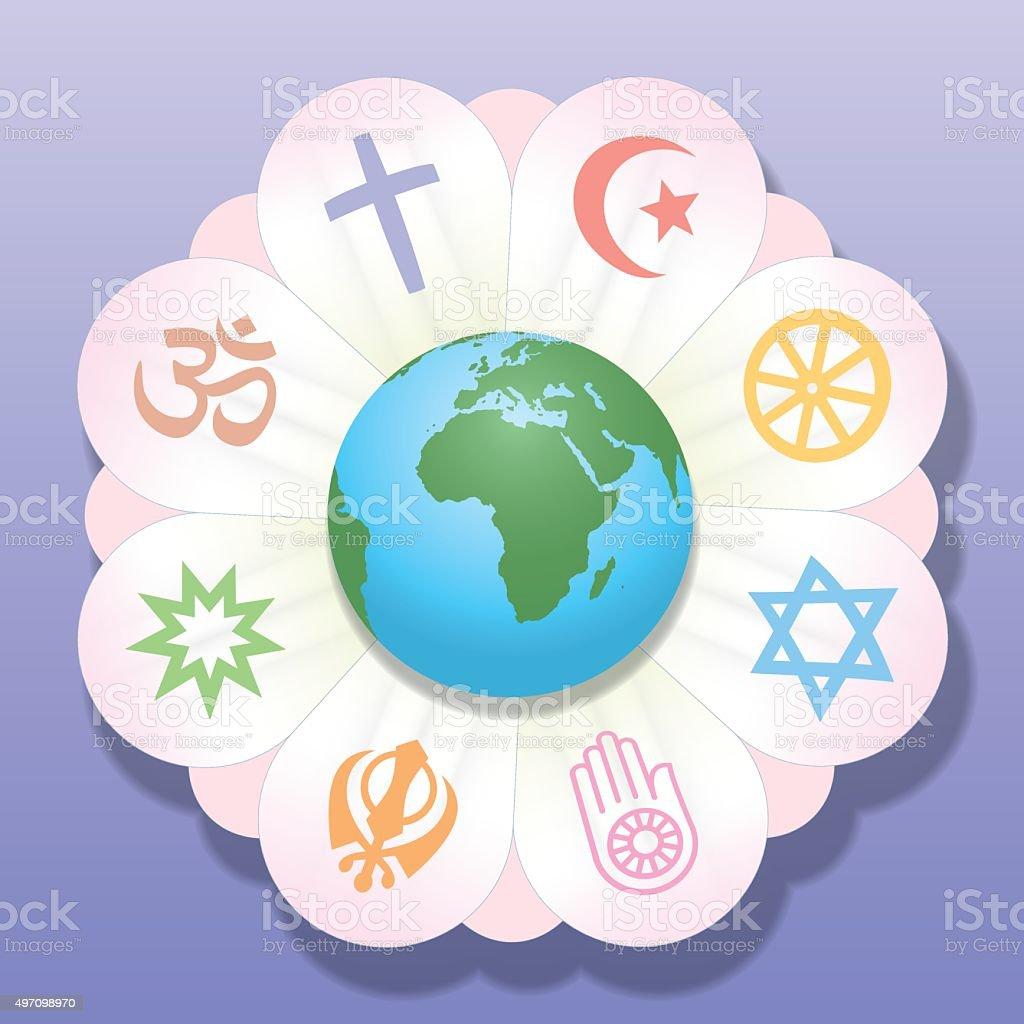 Religions United World Flower Peace Symbols vector art illustration