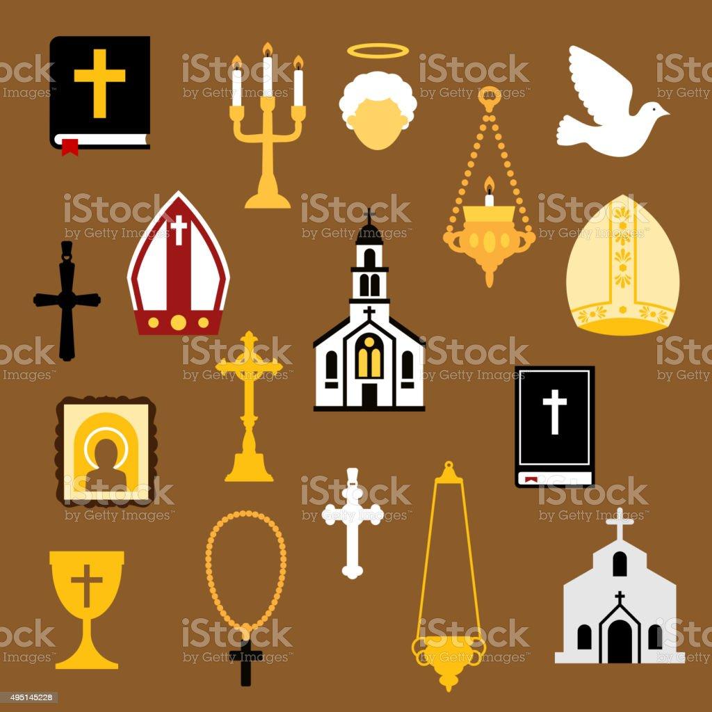 Religious christian and catholic flat icons vector art illustration