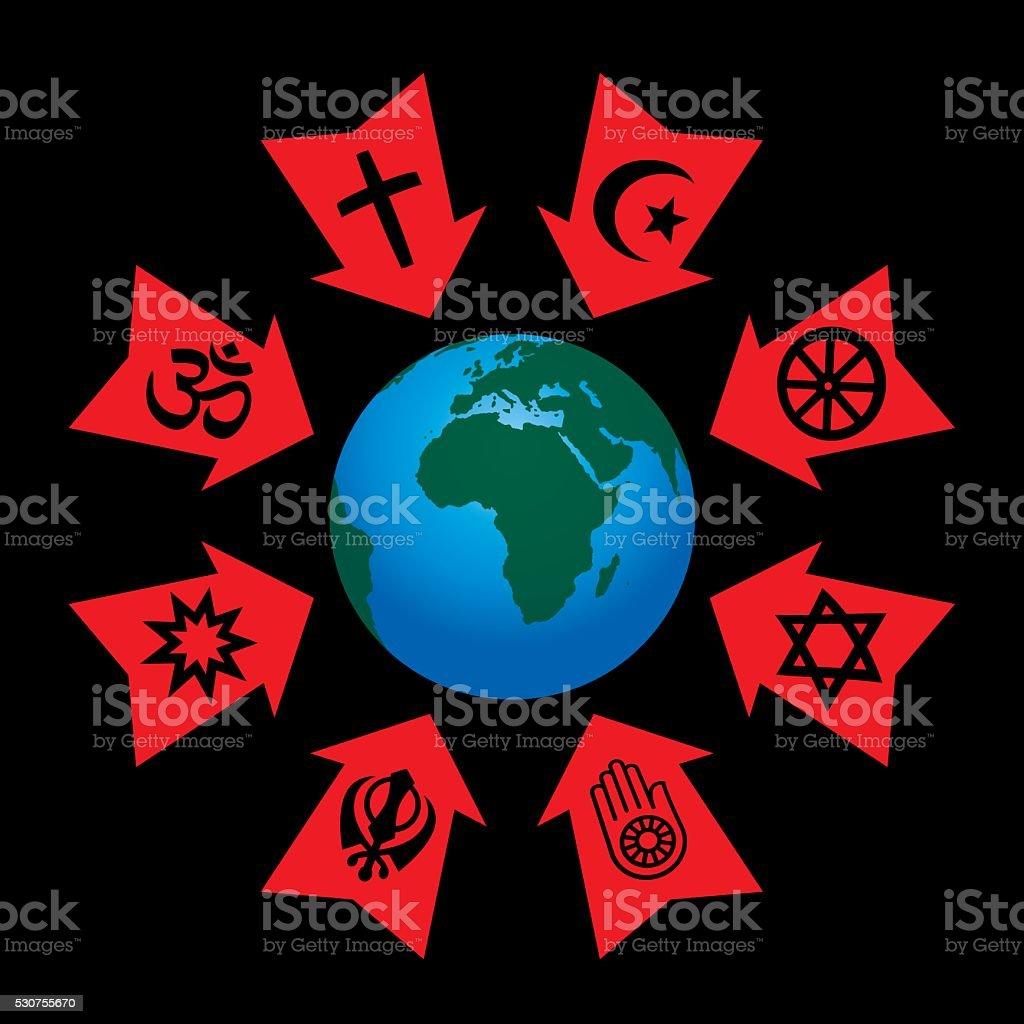 Religious Control Manipulation Influence vector art illustration