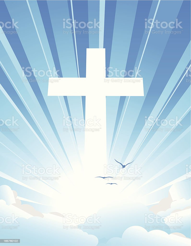 Religious cross appearing in the sky vector art illustration
