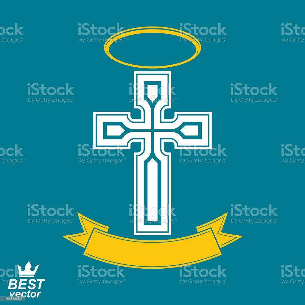 Religious cross emblem with nimbus and decorative ribbon, spirit vector art illustration