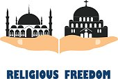 Religious freedom. Flat vector stock illustration