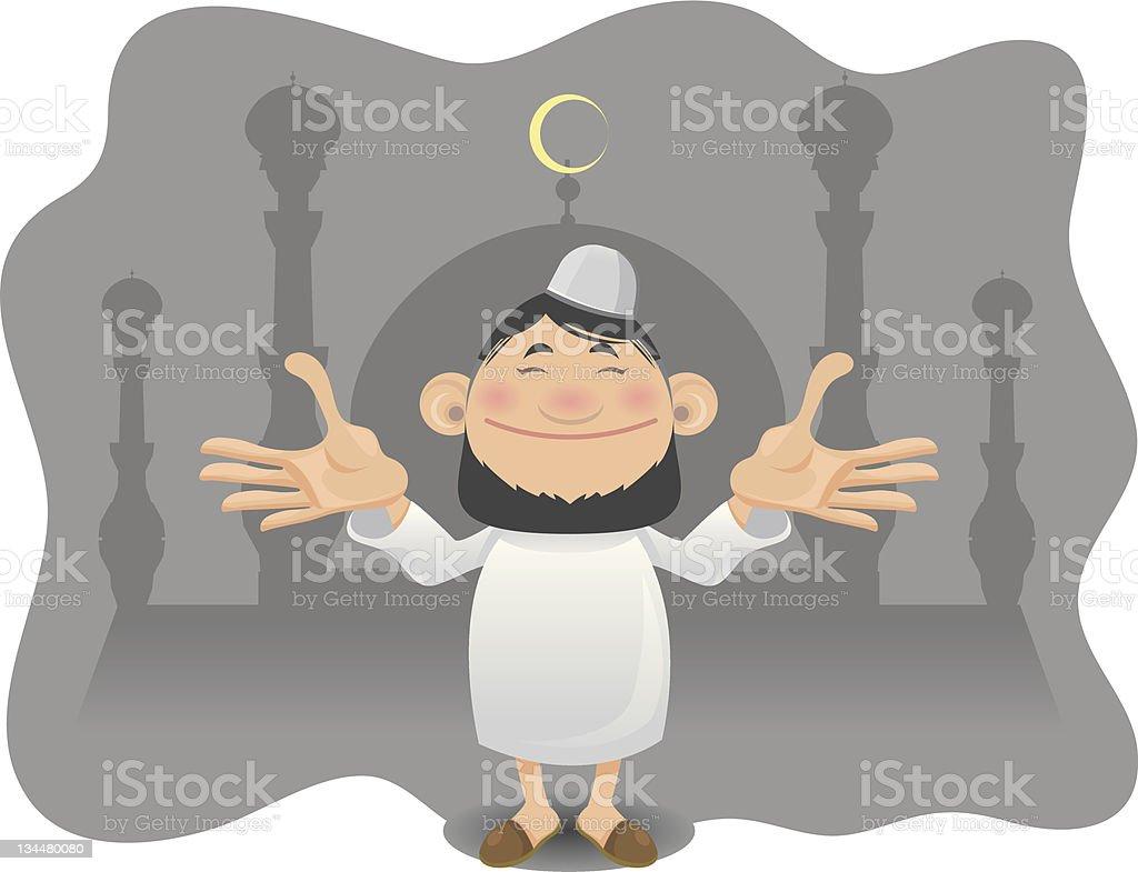 Religious Moslem Man Welcoming Ramadan royalty-free stock vector art