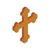 Religious symbol of crucifix isometric 3d icon