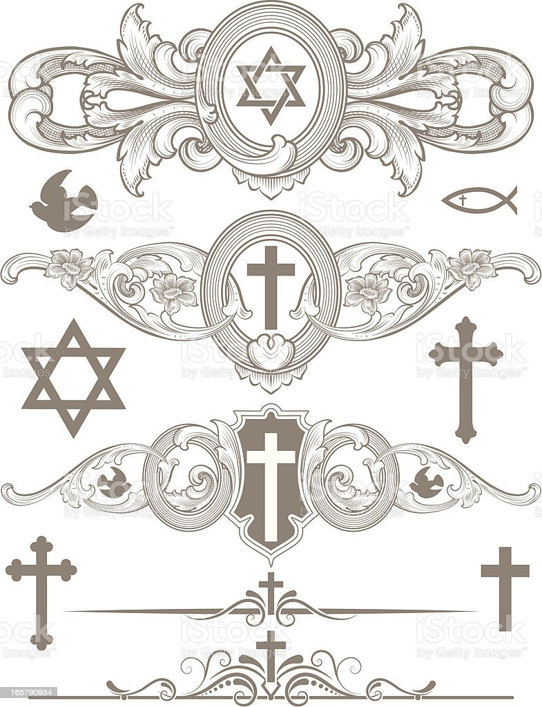 Religious Symbol Page Rules vector art illustration