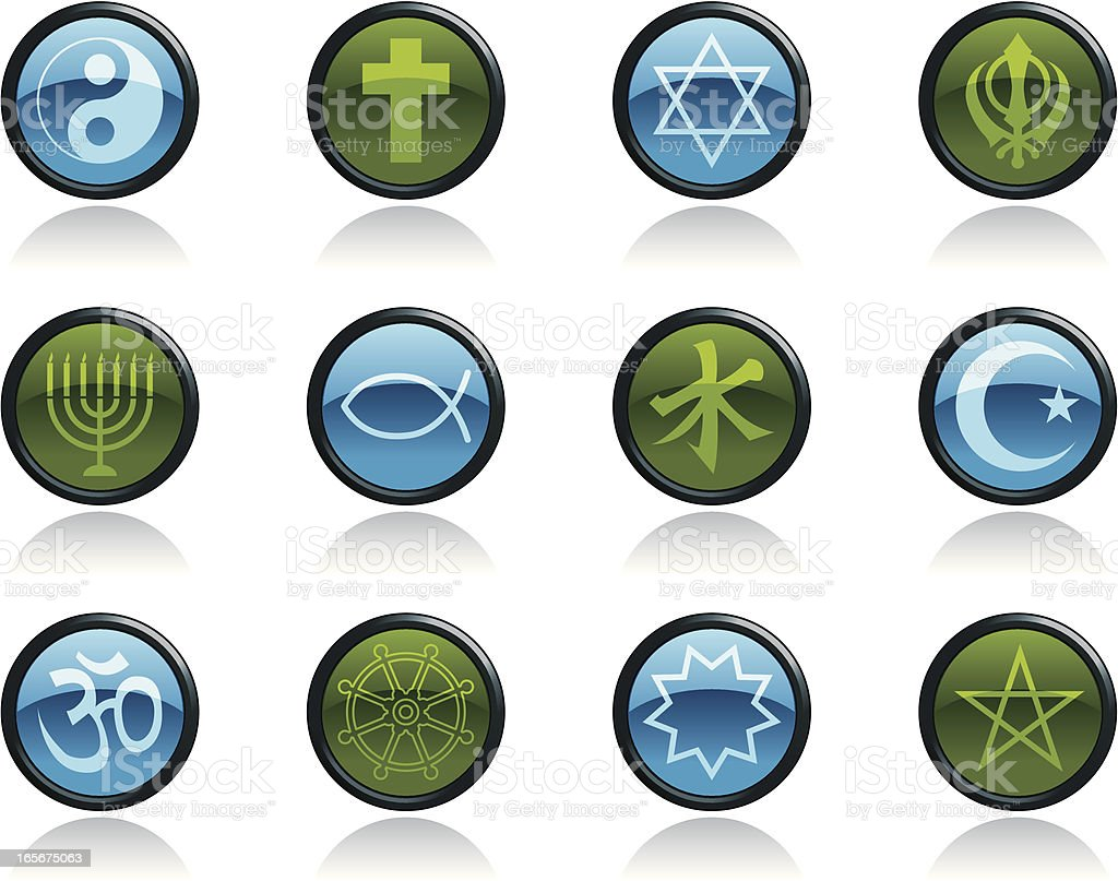 Religious Symbols and Religion Icons in Glossy Button Shape royalty-free stock vector art