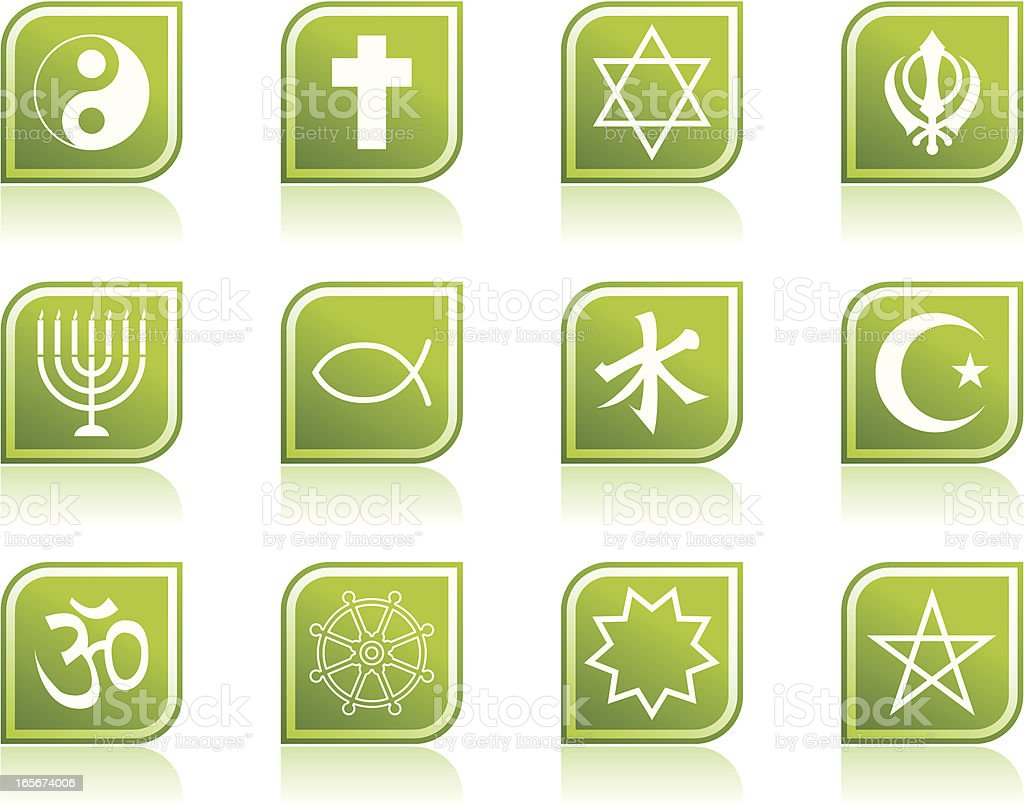 Religious Symbols  and Religion Icons in Modern Green Leaf Shape royalty-free stock vector art