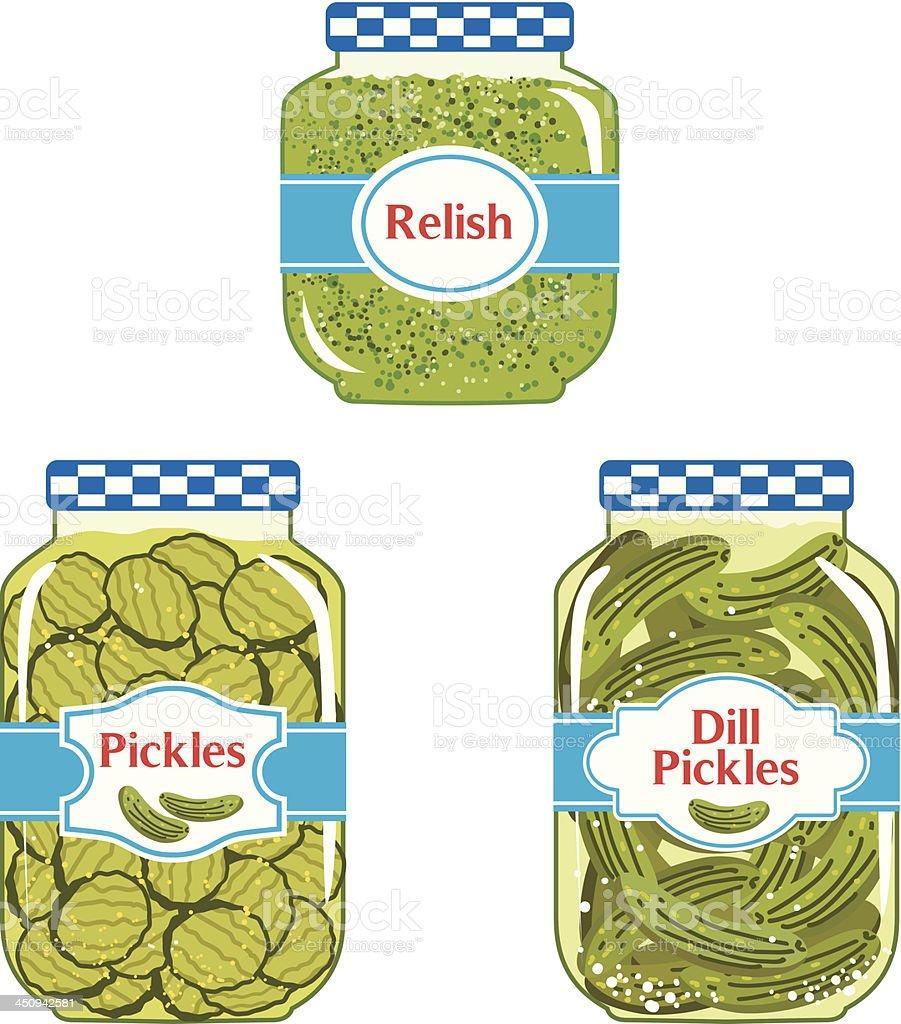 Relish & Pickles jars vector art illustration