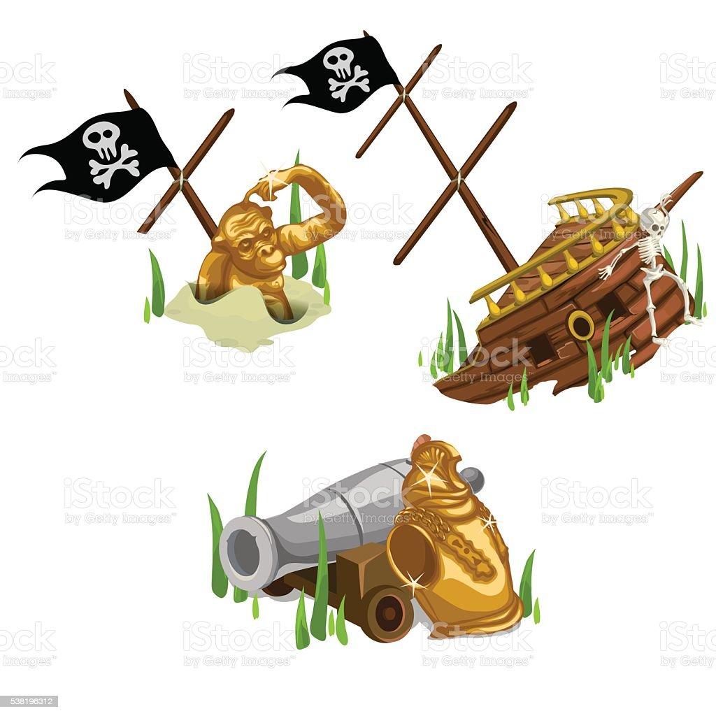 Remains of the ship, gold monkey, skeleton and gun vector art illustration