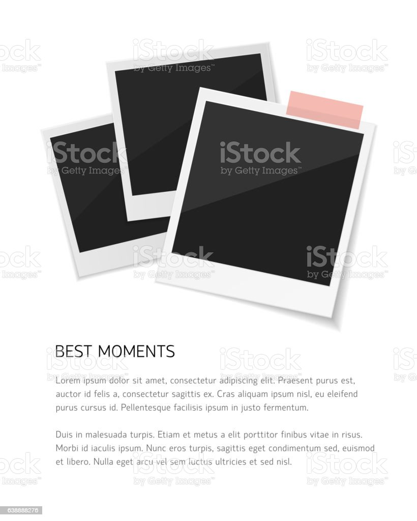 Remember every moment. Set Vector sticked down with paper tape vector art illustration