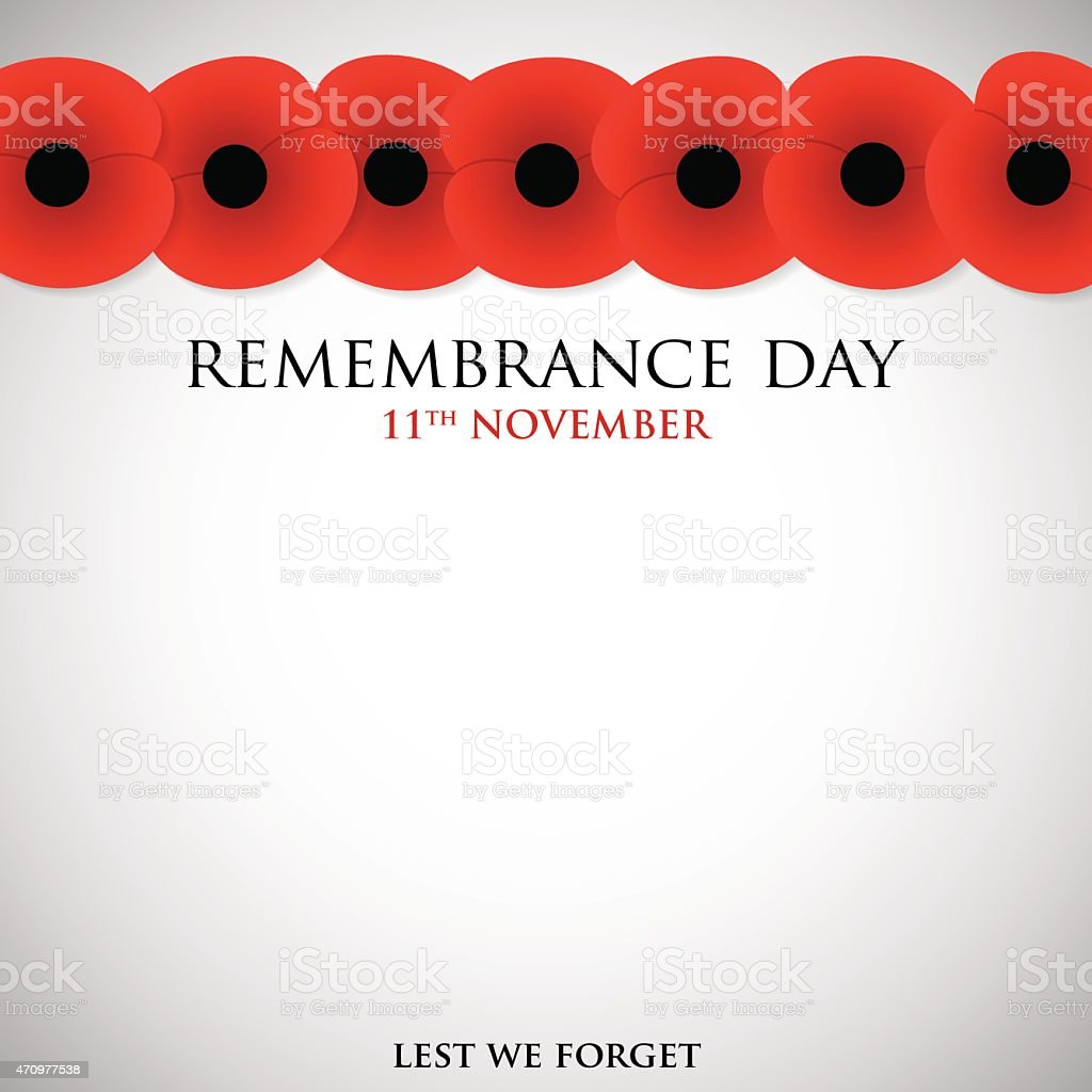 Remembrance Day card in vector format. vector art illustration
