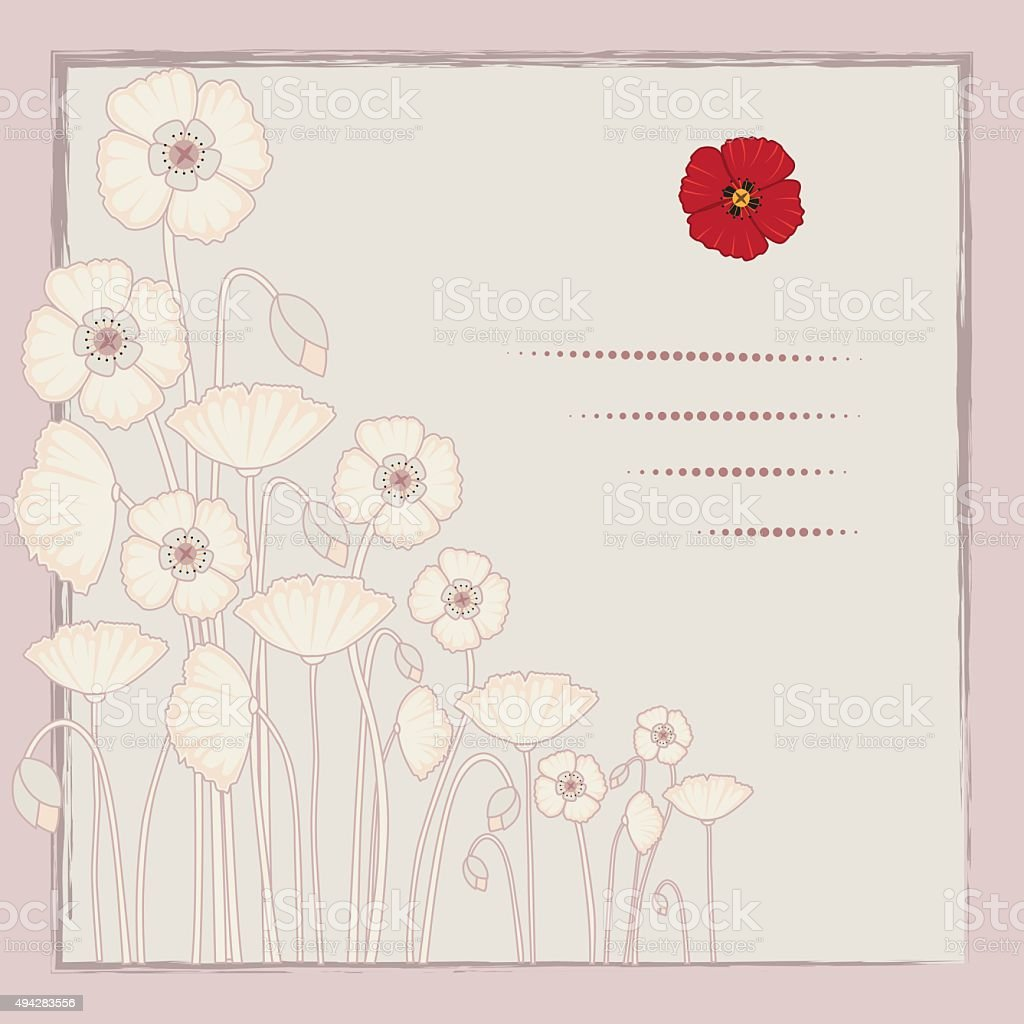 Remembrance day Poppy background vector art illustration