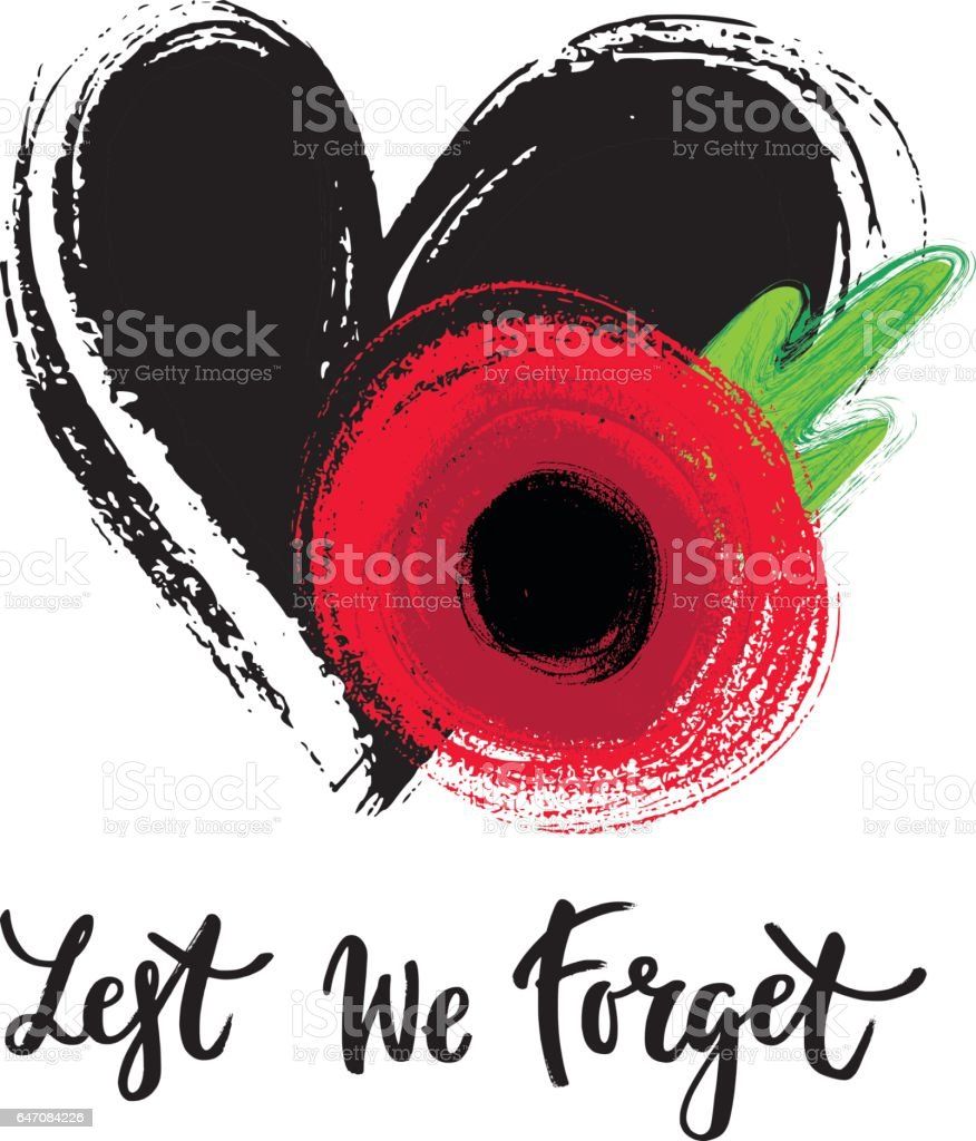 Remembrance day poppy card vector art illustration