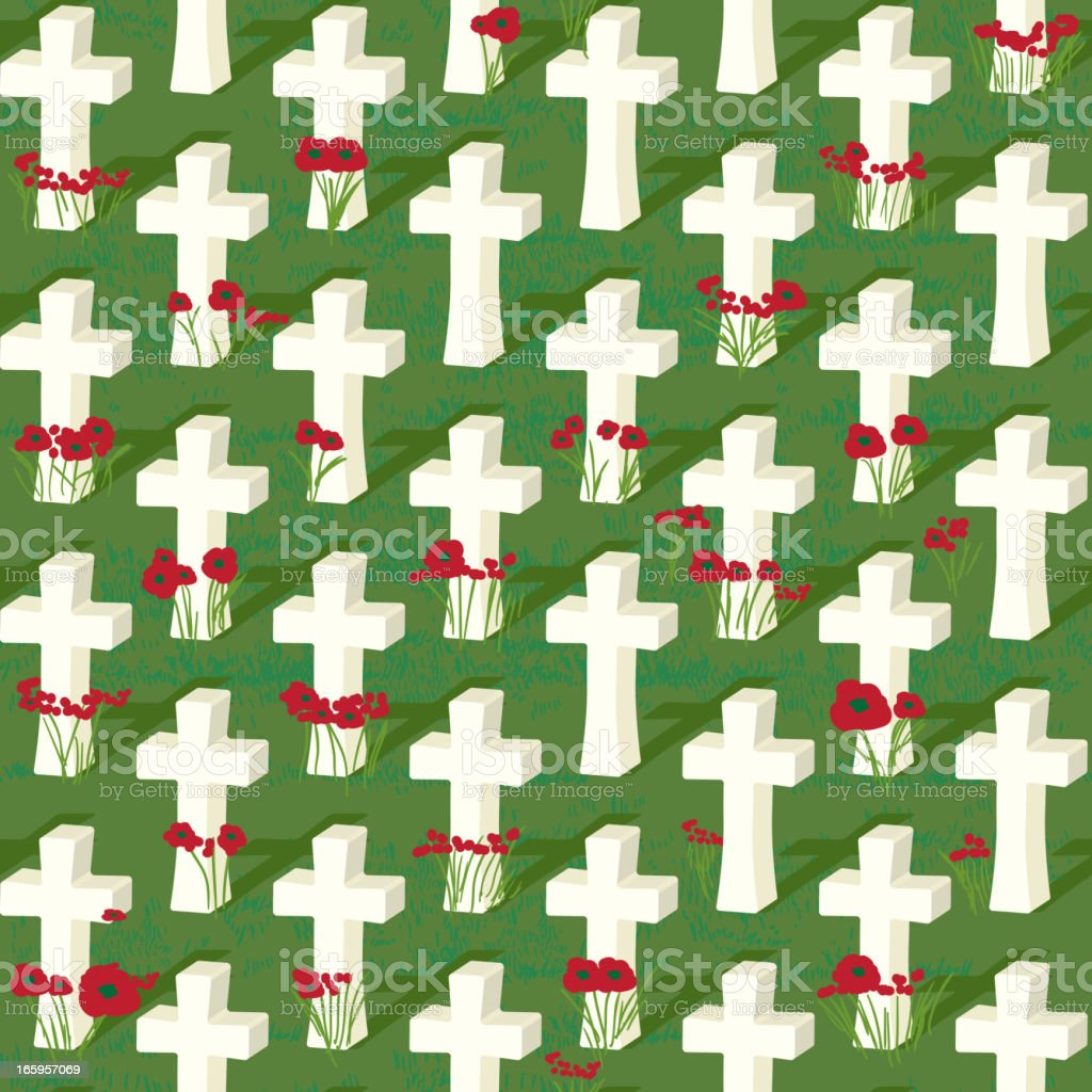 Remembrance Day seamless cross pattern vector art illustration
