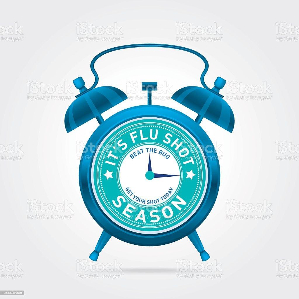 Reminder Clock for Flu Shots on Off-White  Background Poster Template vector art illustration