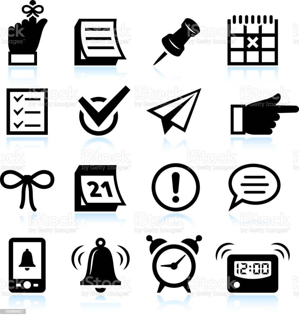Reminder Icons and Widgets black & white vector icon set vector art illustration