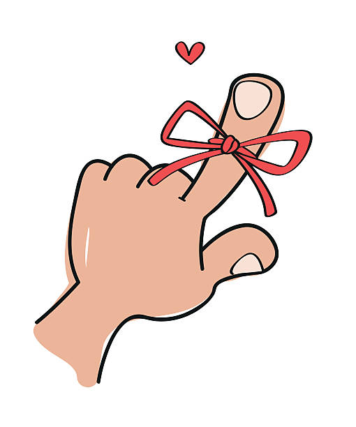 Drawing Of A String Tied Around Finger Clip Art, Vector Images ...