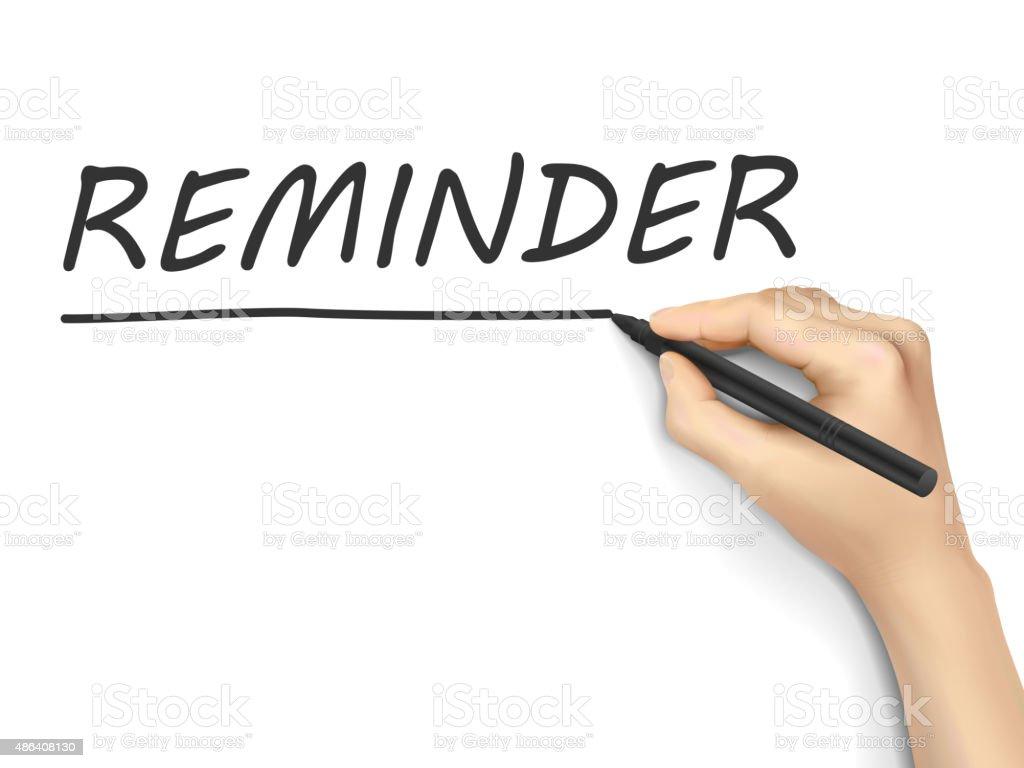 reminder word written by hand vector art illustration