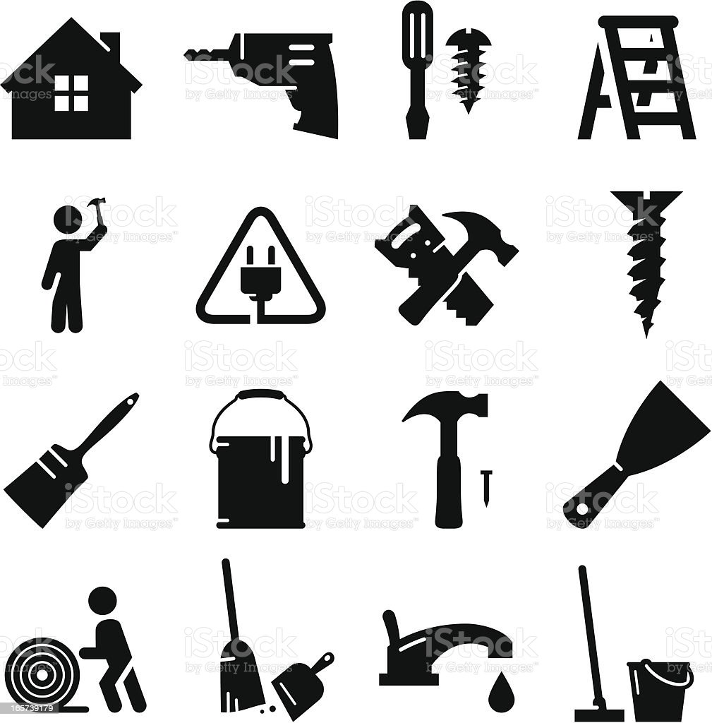 Remodeling Icons - Black Series vector art illustration