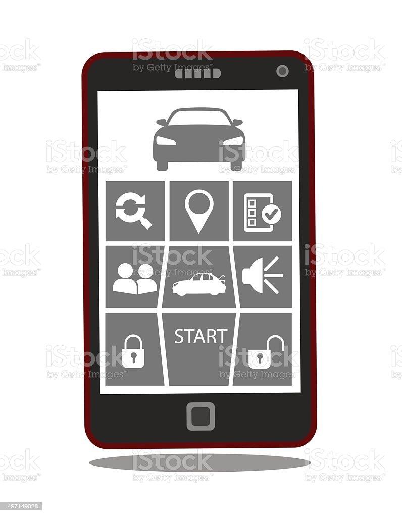Remote car starter control system vector art illustration