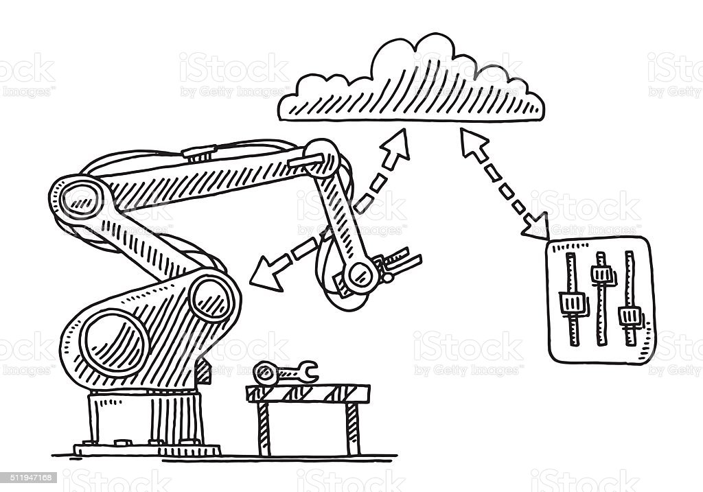 Remote Control Cloud Technology For Industry Robots Drawing vector art illustration